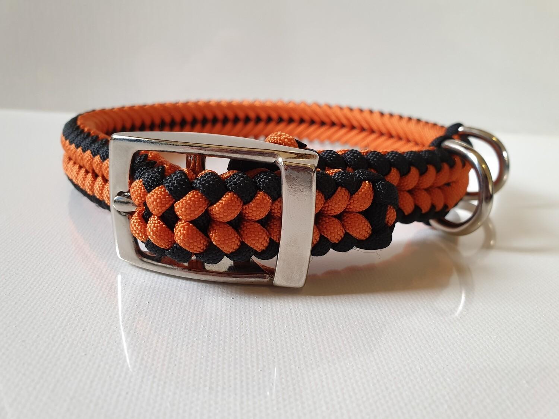 Sanctified Medium Orange/Black Dog Collar