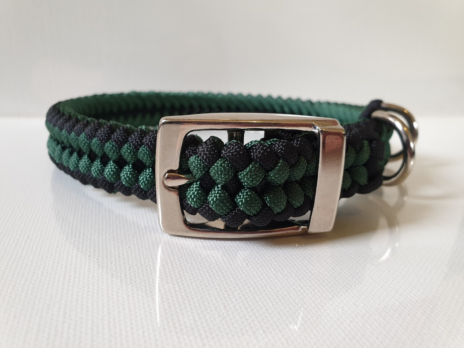 Sanctified Medium Hunter Green/Black Dog Collar