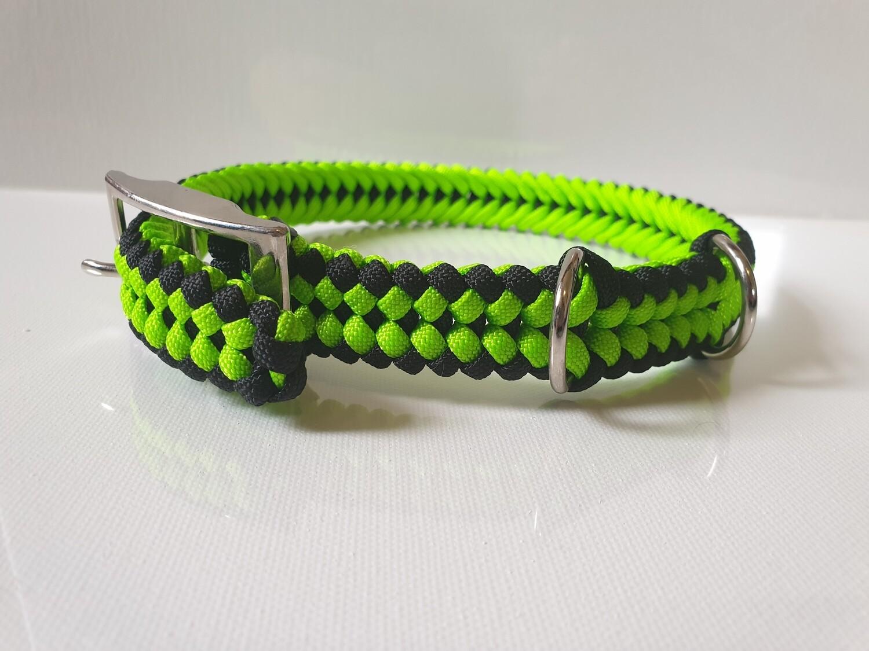 Sanctified Medium Lime Green/Black Dog Collar