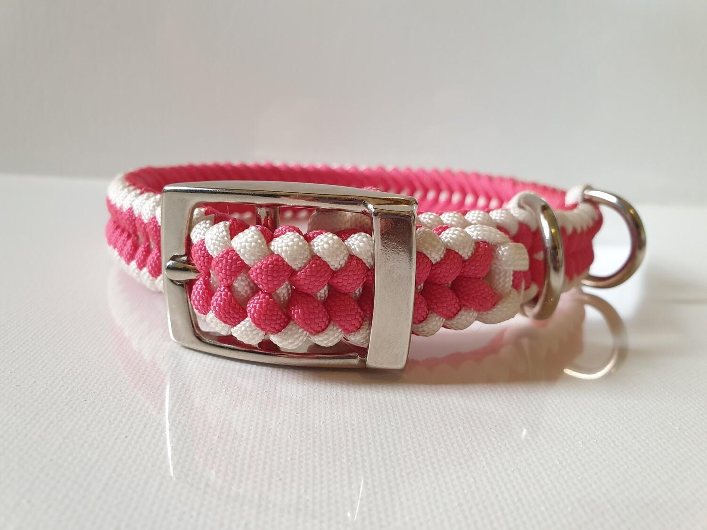Sanctified Medium Pink/White Dog Collar