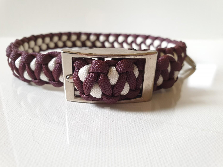 Drakon Medium Burgundy/White Dog Collar