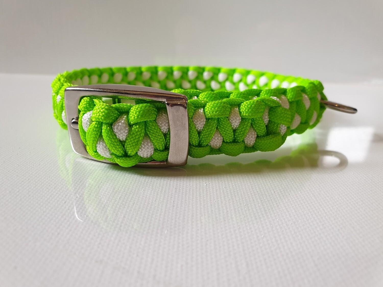 Drakon Medium Lime Green/White Dog Collar