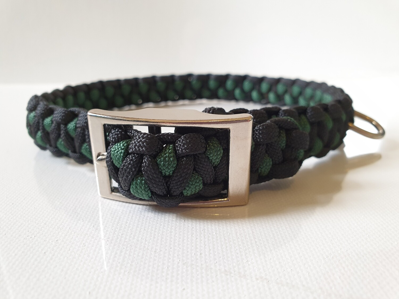 Drakon Medium Hunter Green/Black Dog Collar