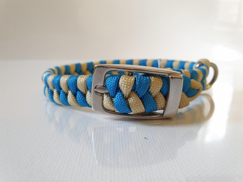 Flat Braid Extra Small Blue/Beige Dog Collar