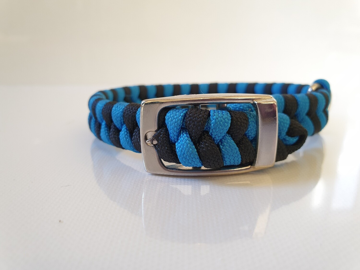 Flat Braid Extra Small Blue/Black Dog Collar