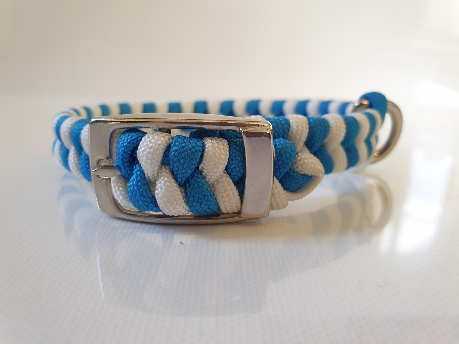 Flat Braid Extra Small Blue/White Dog Collar