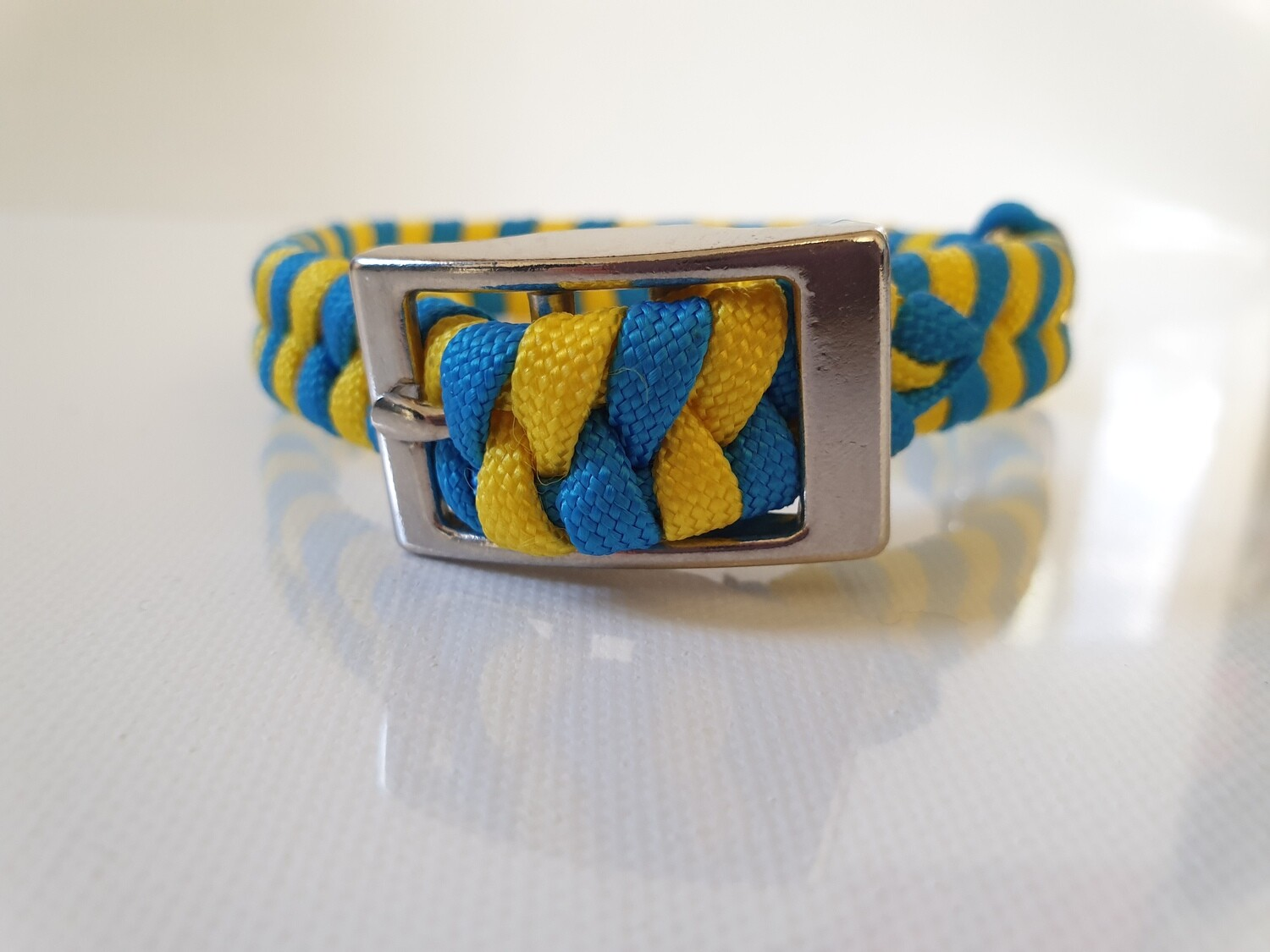 Flat Braid Extra Small Blue/Yellow Dog Collar