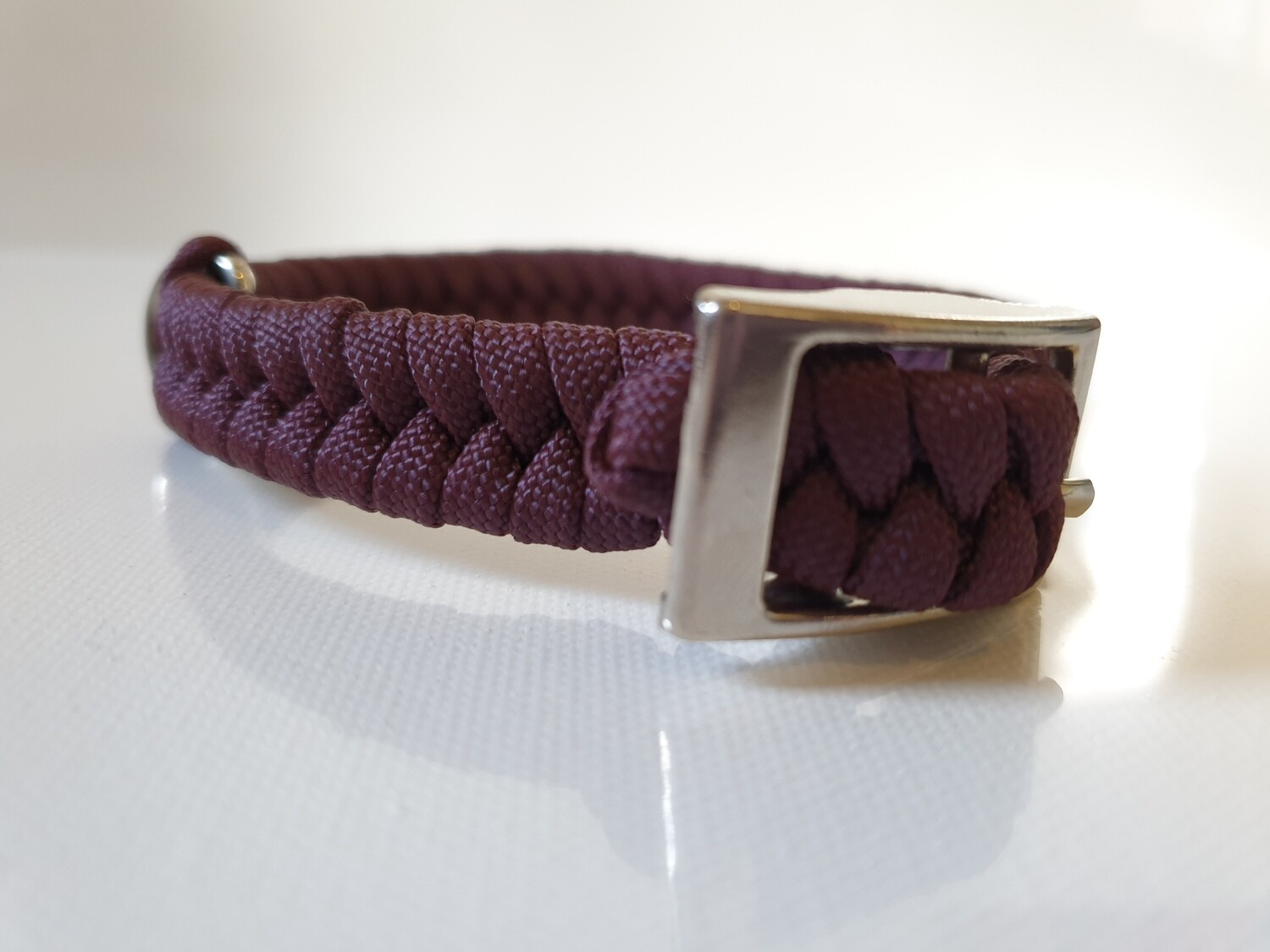 Flat Braid Extra Small Burgundy Dog Collar