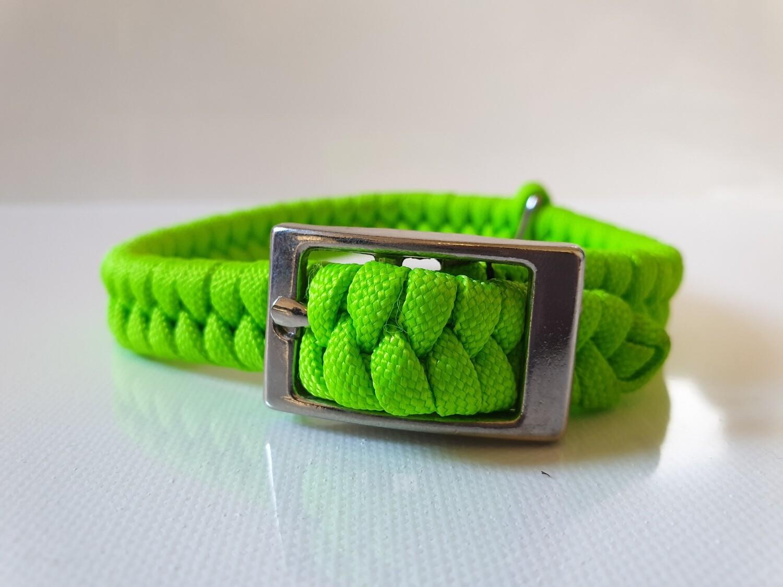 Flat Braid Extra Small Lime Green Dog Collar