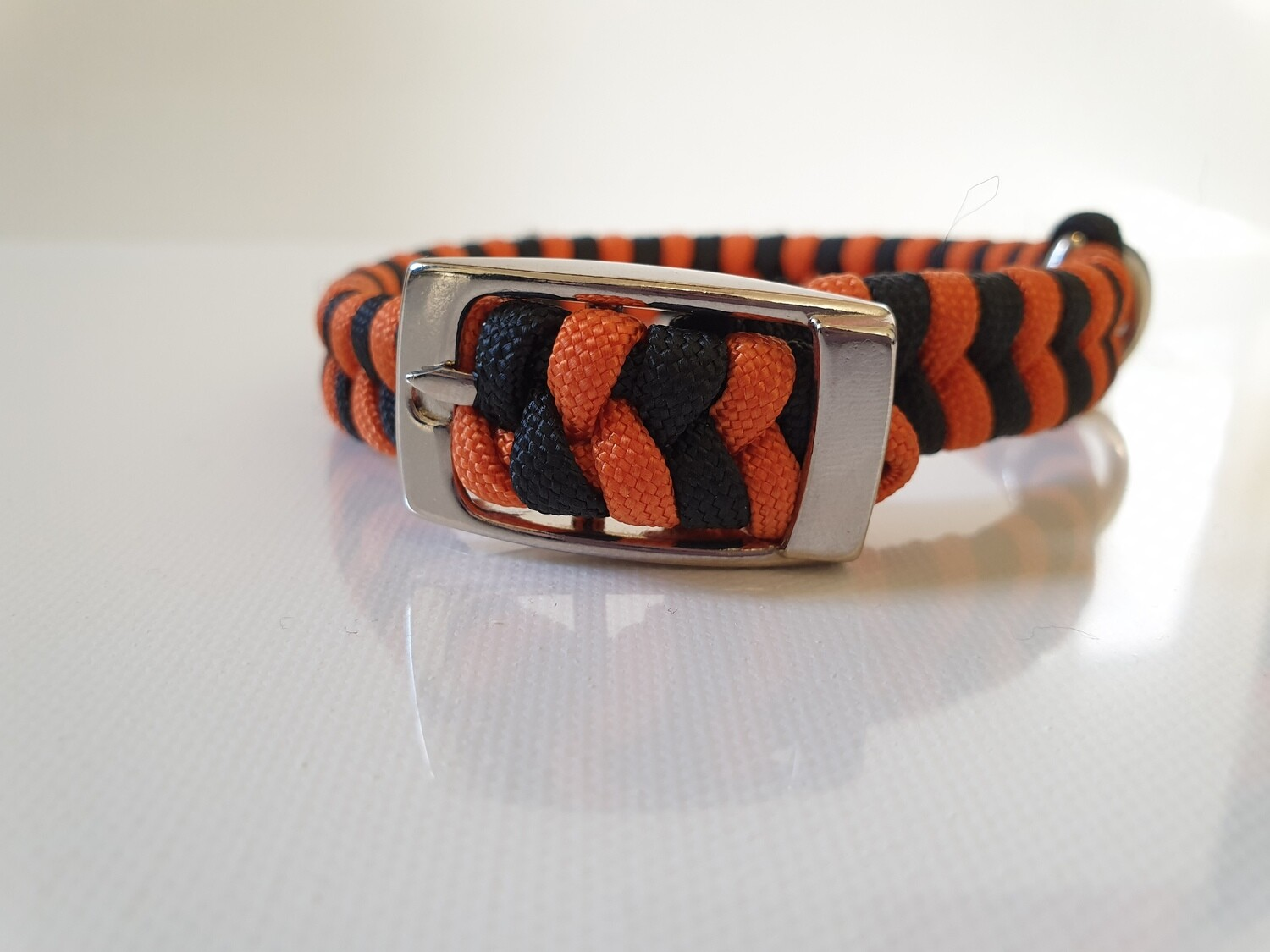 Flat Braid Extra Small Orange/Black Dog Collar