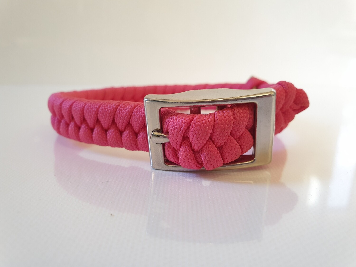 Flat Braid Extra Small Pink Dog Collar