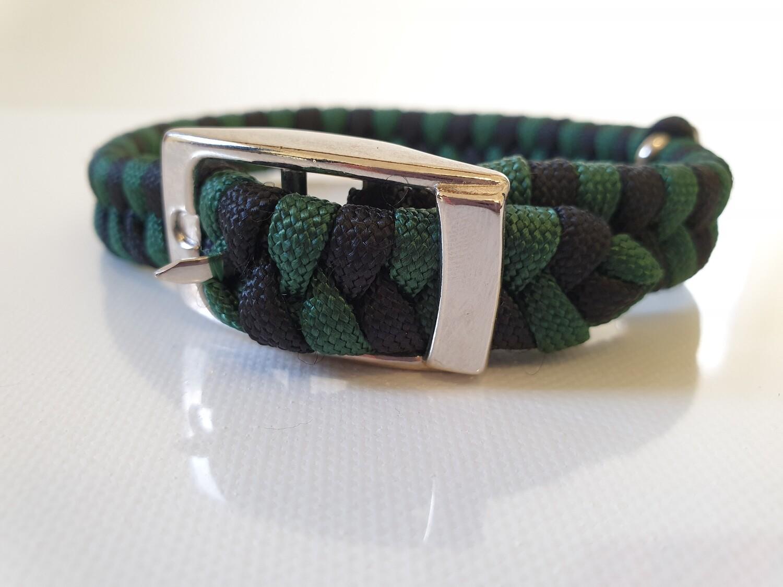Flat Braid Extra Small Hunter Green/Black Dog Collar