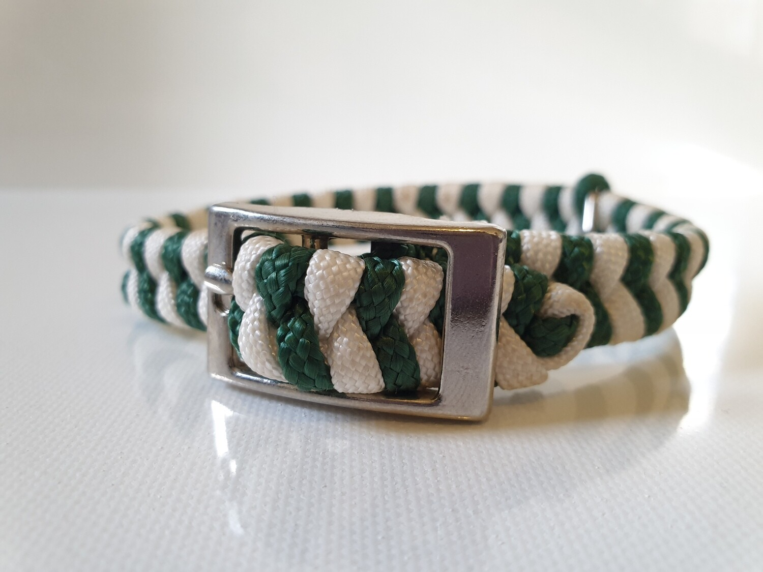 Flat Braid Extra Small Hunter Green/White Dog Collar