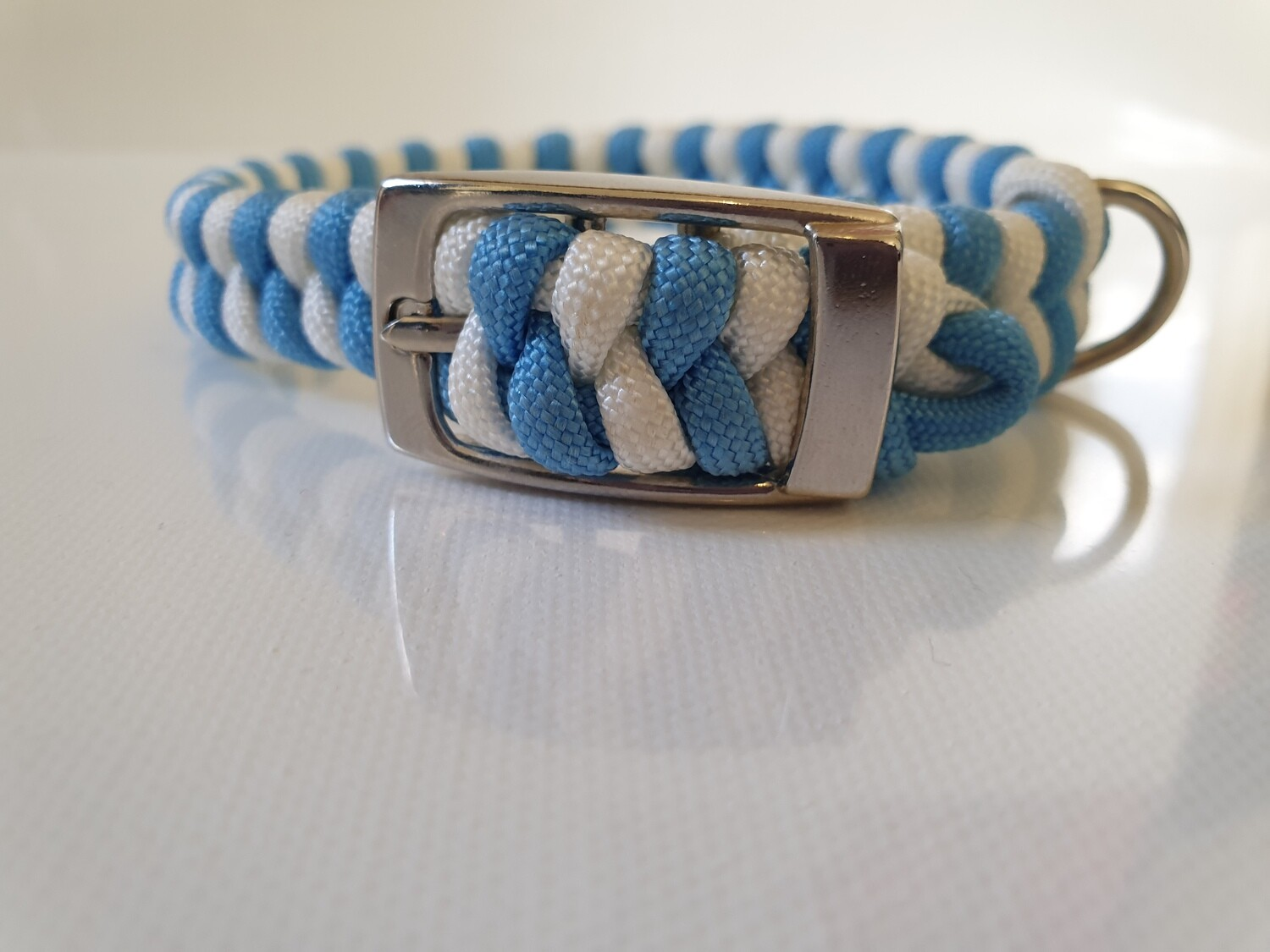 Flat Braid Extra Small Light Blue/White Dog Collar