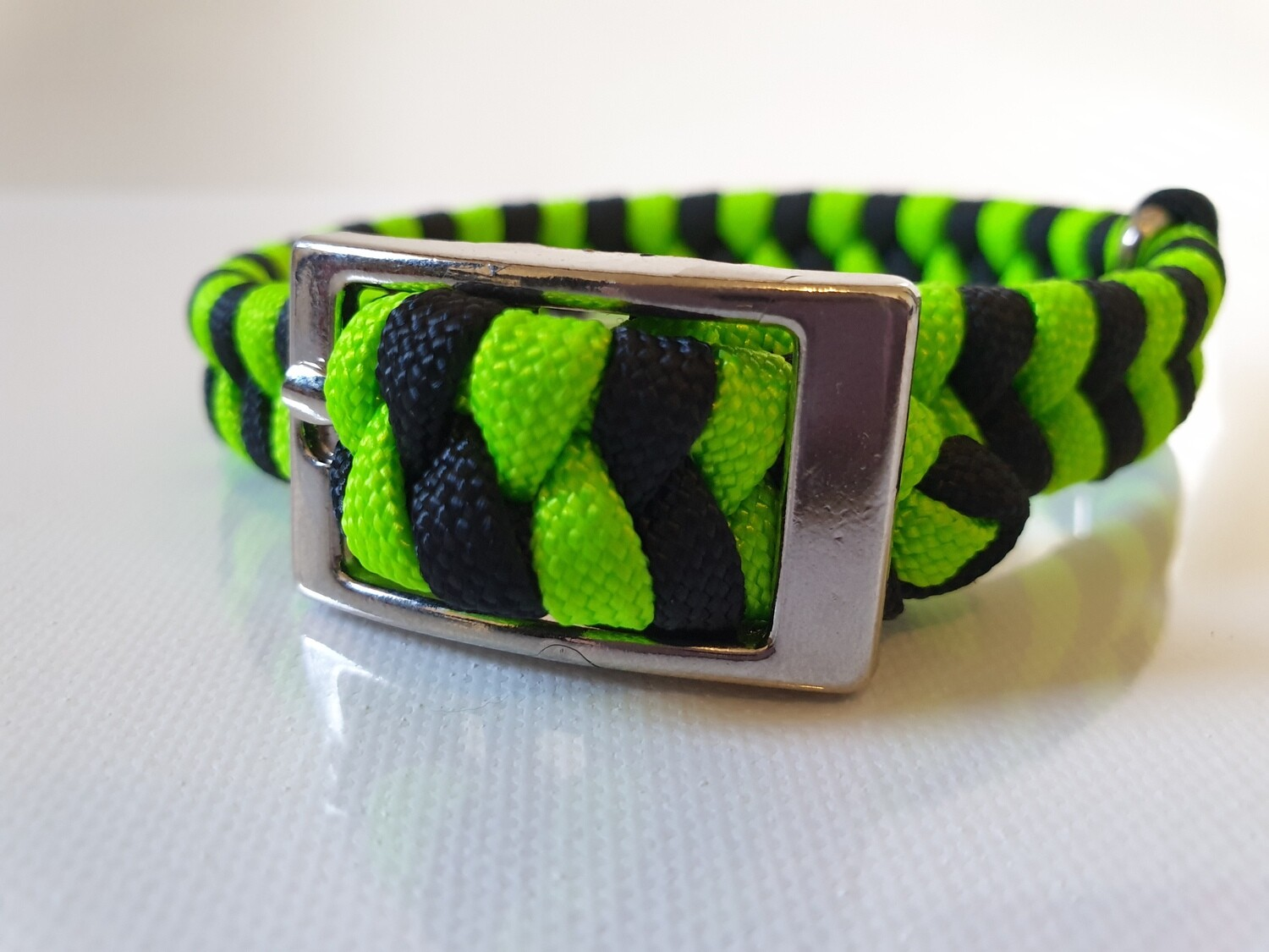 Flat Braid Extra Small Lime Green/Black Dog Collar