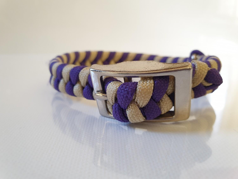 Flat Braid Extra Small Purple/Beige Dog Collar