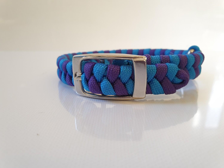Flat Braid Extra Small Purple/Blue Dog Collar