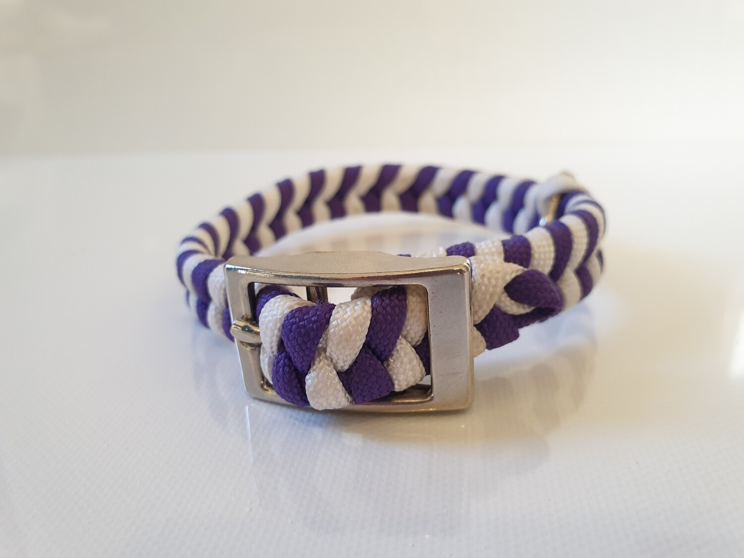 Flat Braid Extra Small Purple/White Dog Collar