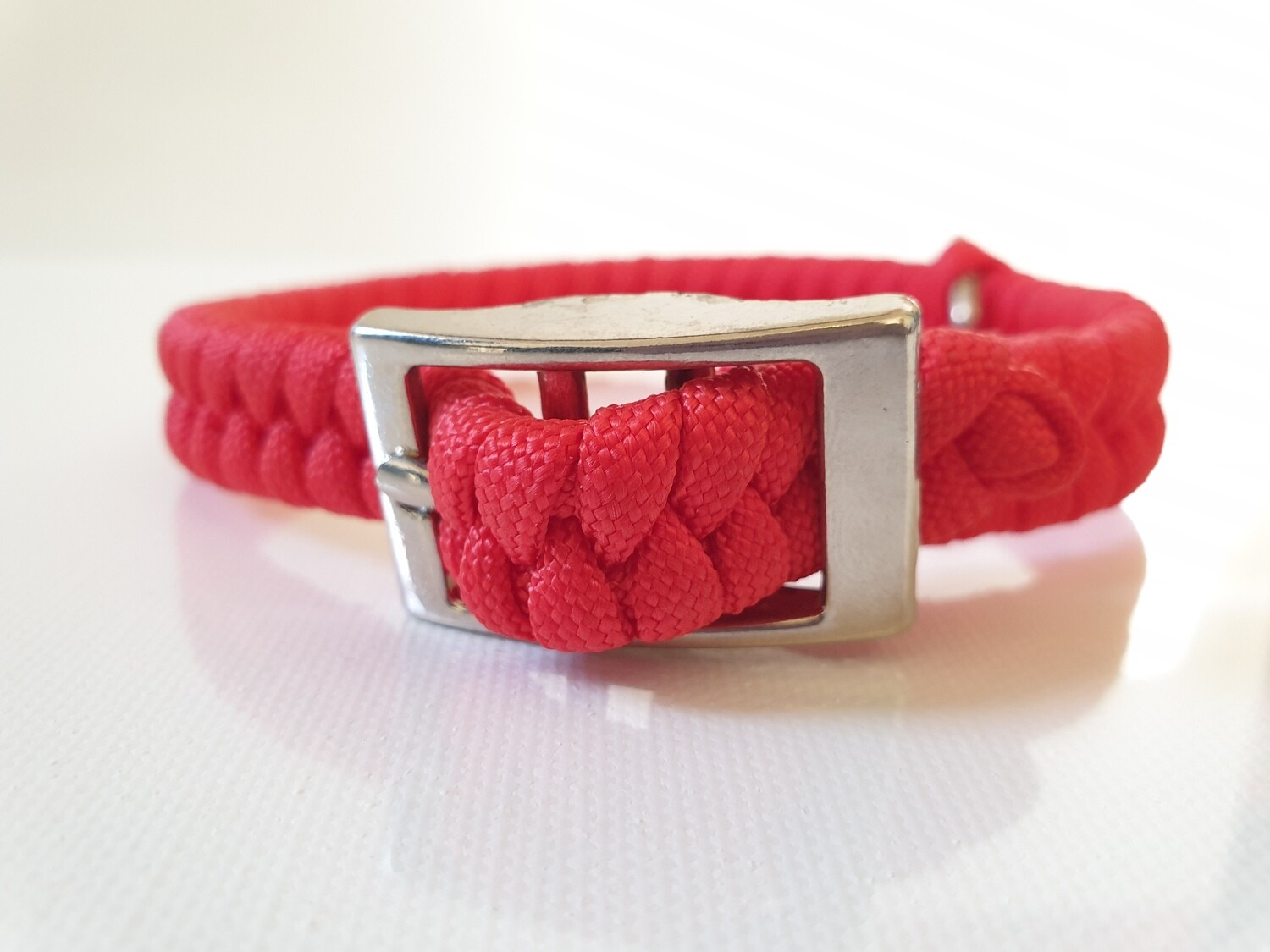 Flat Braid Extra Small Red Dog Collar