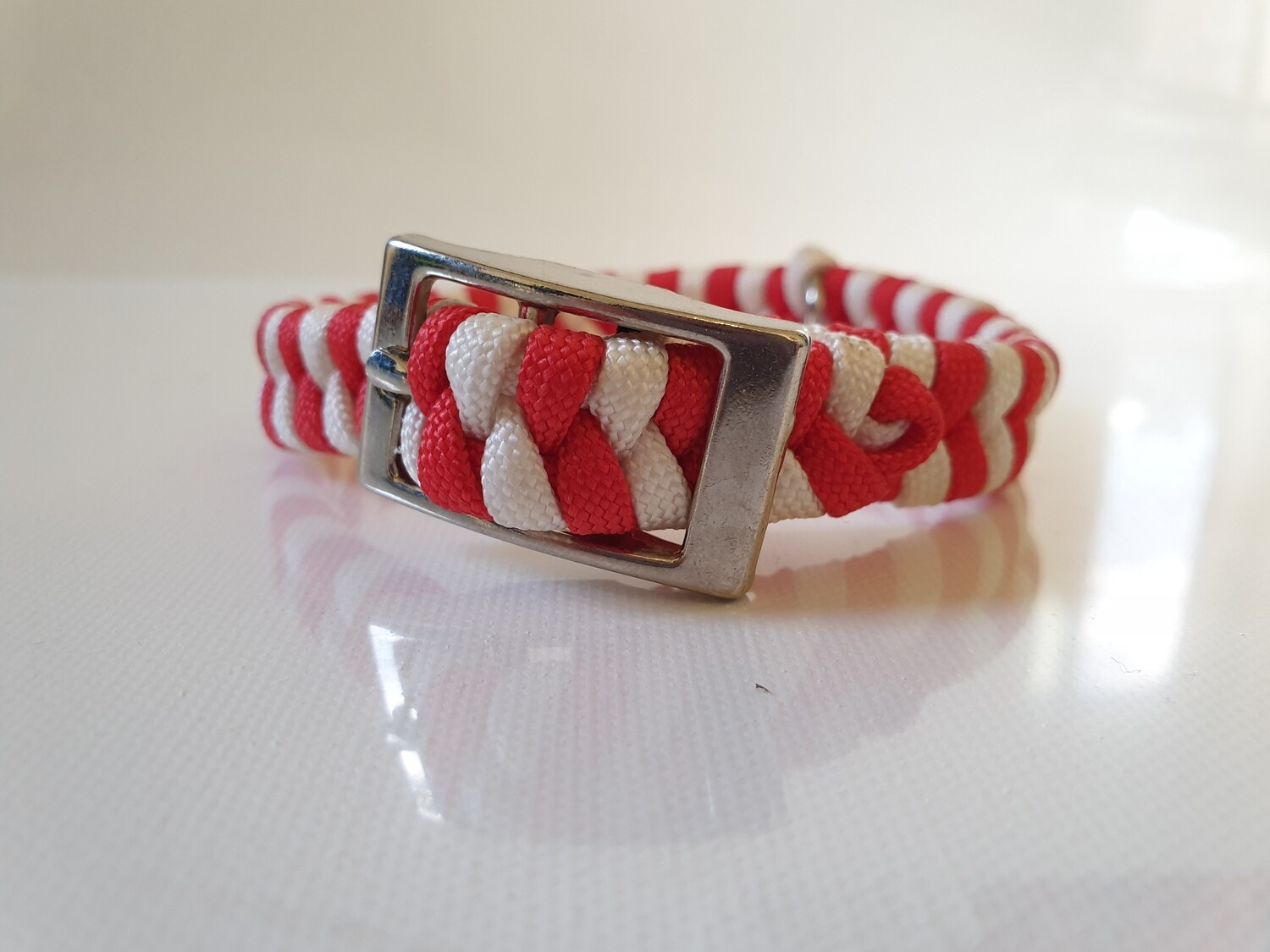 Flat Braid Extra Small Red/White Dog Collar