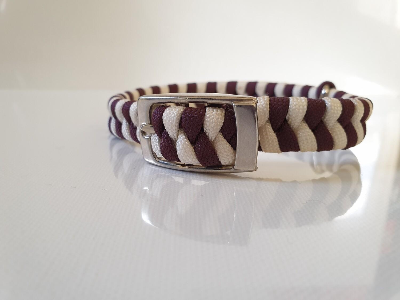 Flat Braid Extra Small Burgundy/White Dog Collar