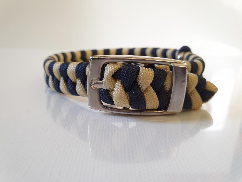 Flat Braid Extra Small Navy/Beige Dog Collar