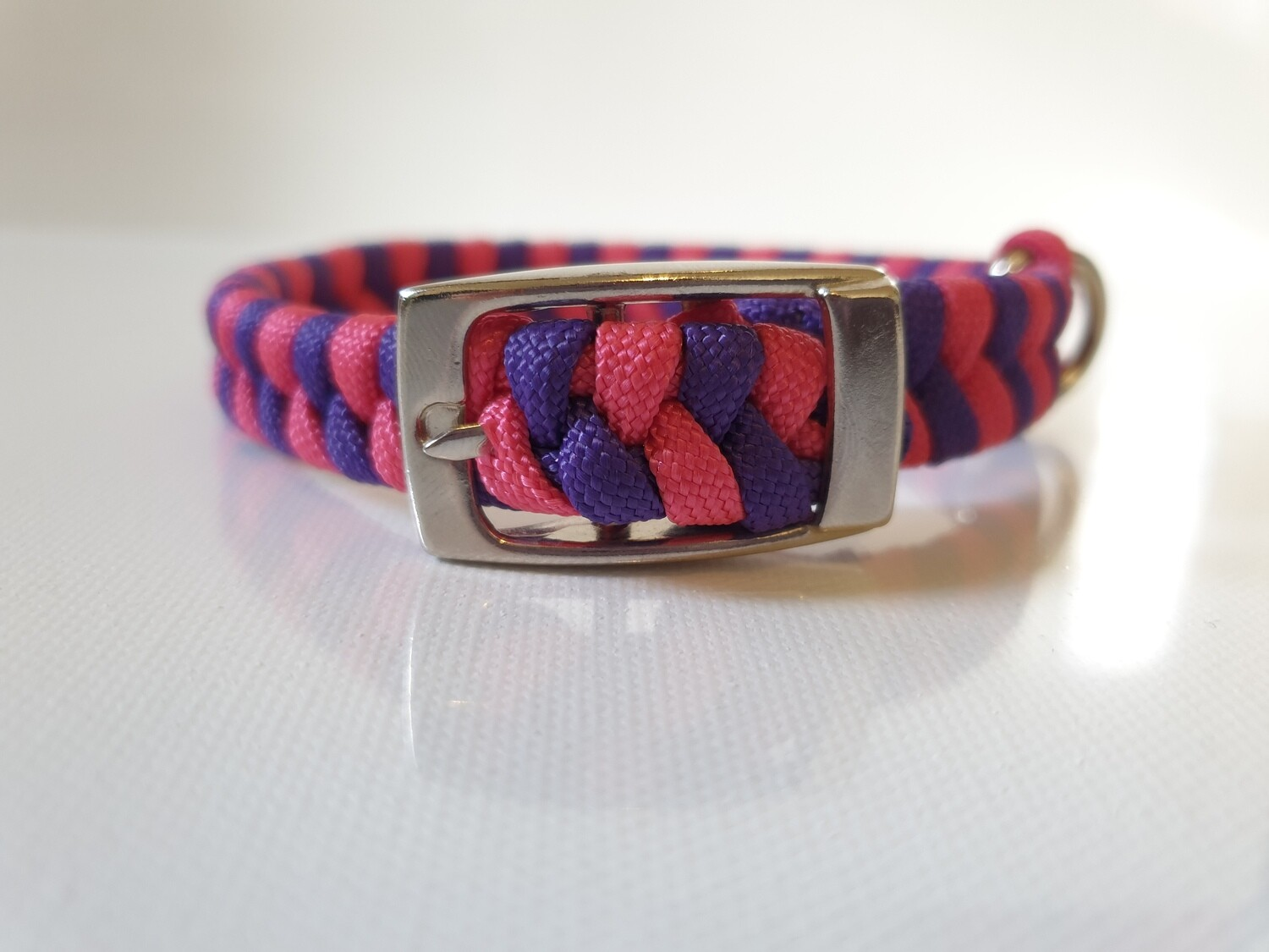 Flat Braid Extra Small Pink/Purple Dog Collar