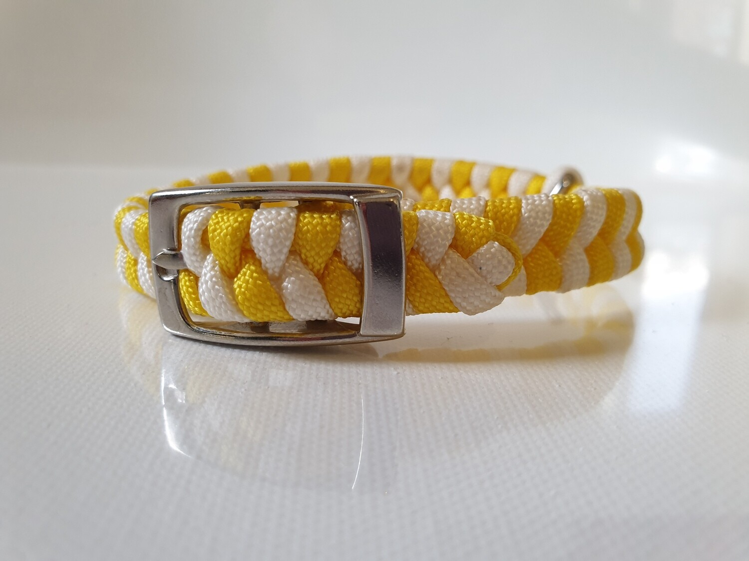 Flat Braid Extra Small Yellow/White Dog Collar