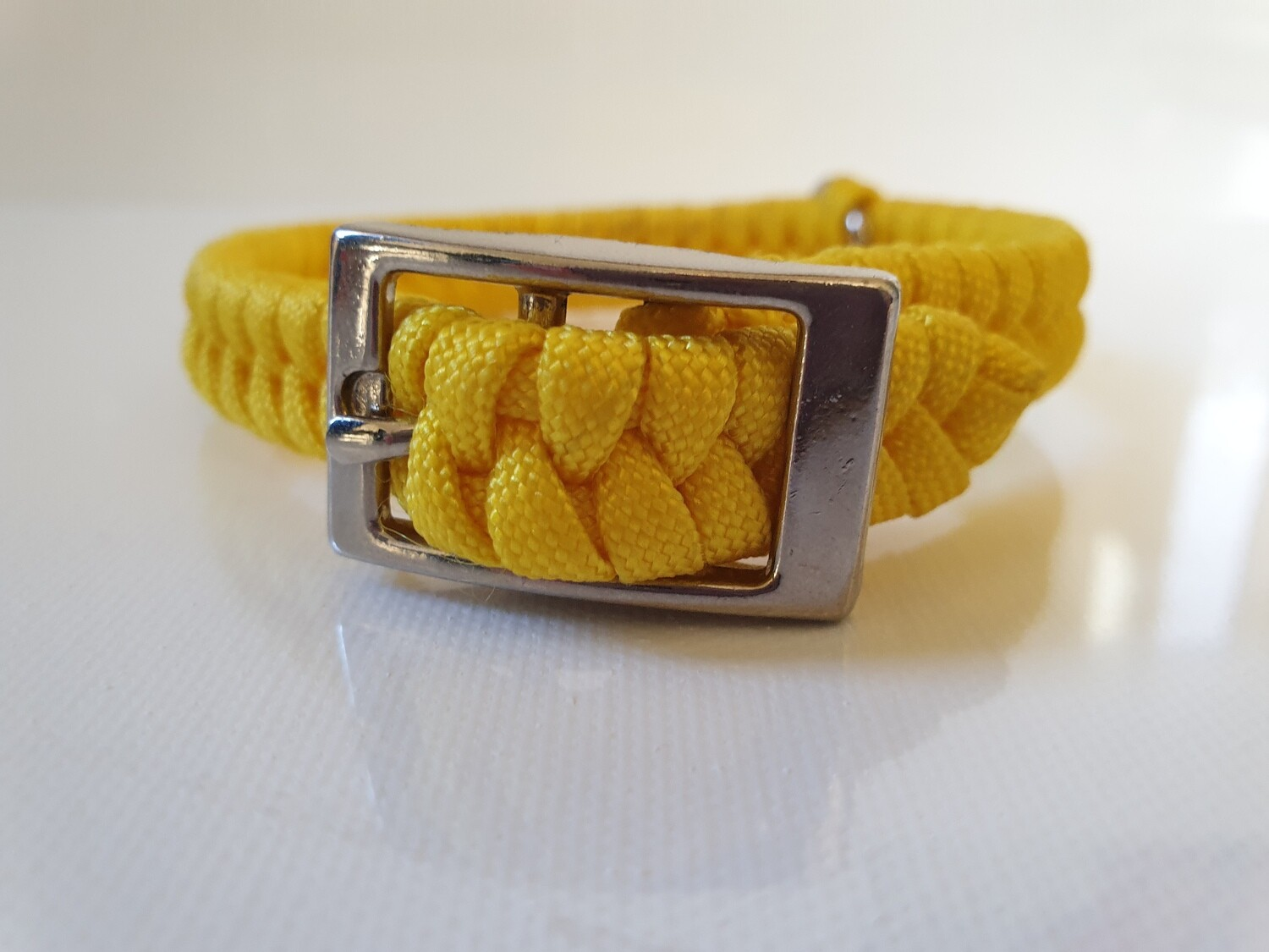 Flat Braid Extra Small Yellow Dog Collar