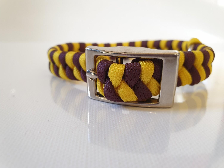Flat Braid Extra Small Yellow/Burgundy Dog Collar