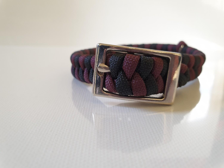 Flat Braid Extra Small Burgundy/Black Dog Collar
