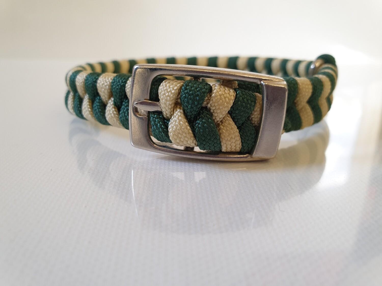 Flat Braid Extra Small Hunter Green/Beige Dog Collar