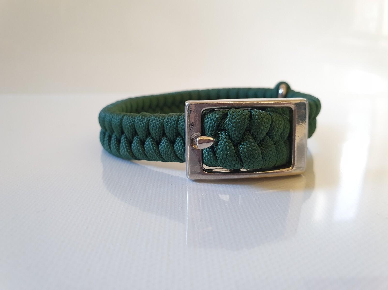Flat Braid Extra Small Hunter Green Dog Collar