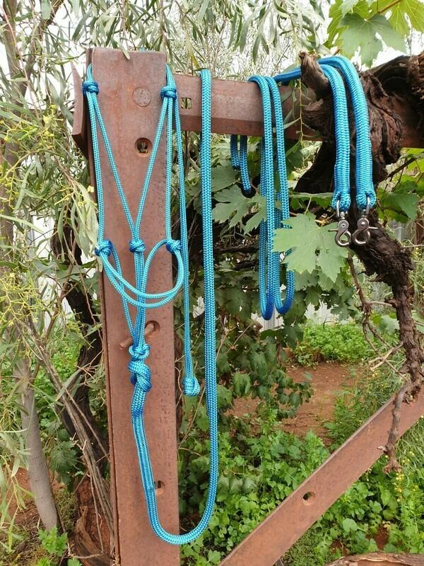 Mottled Green/Blue Rope Halter, Lead and Rope Reins Set