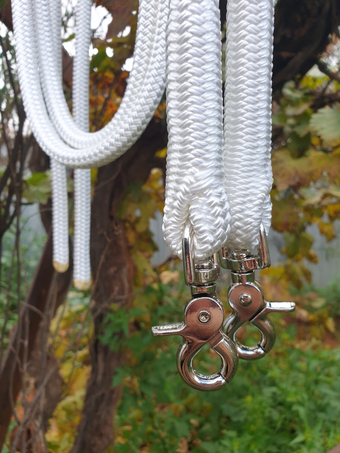 White Rope Reins with Trigger Clips