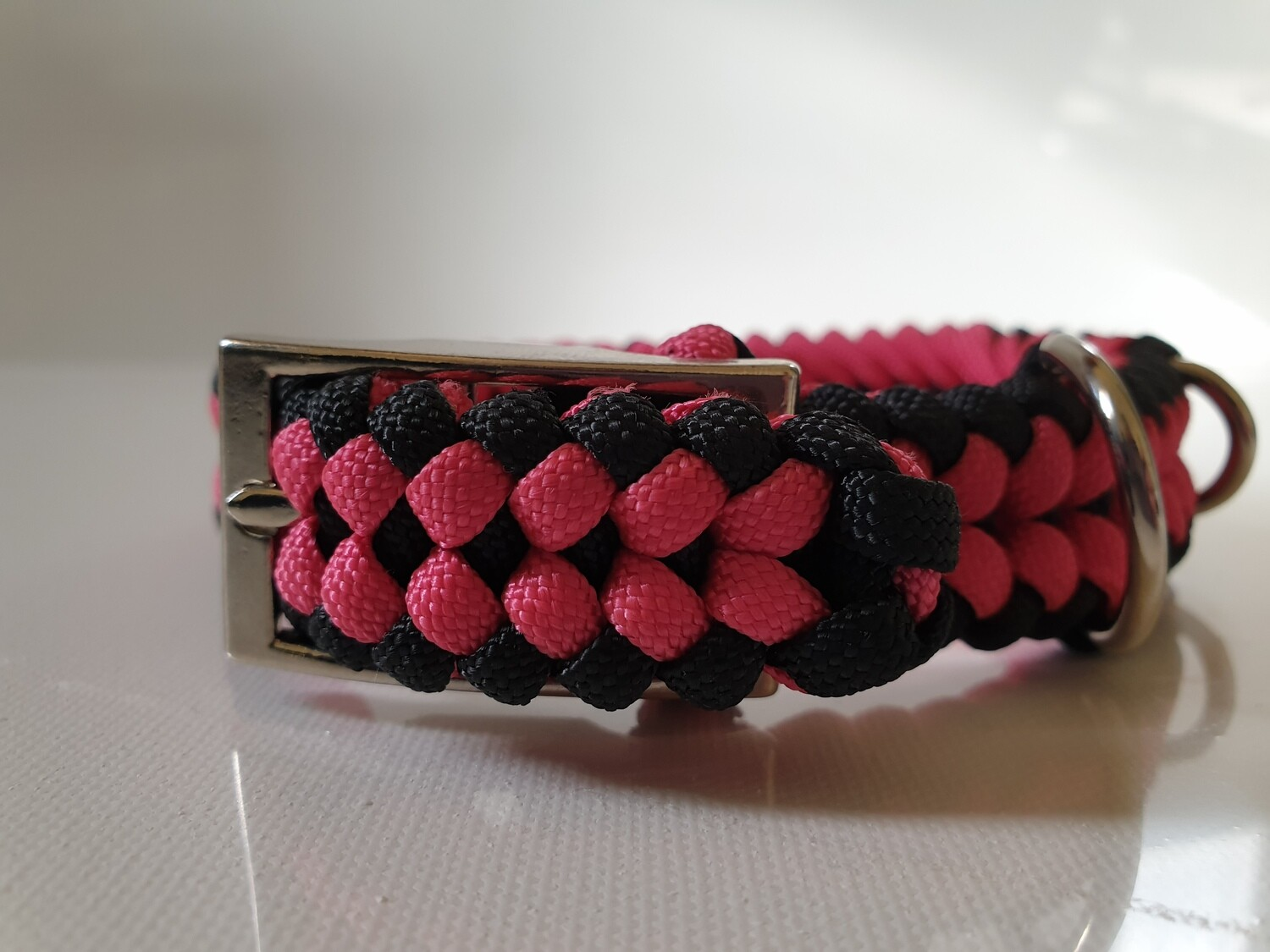 Sanctified Small Pink/Black Dog Collar