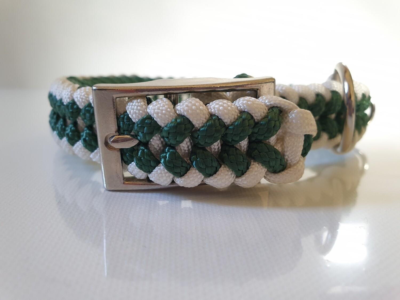 Sanctified Small Hunter Green/White Dog Collar