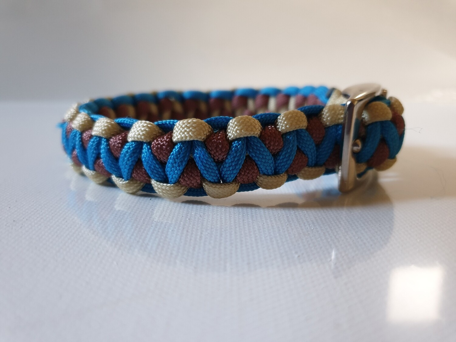 Drakon Small Blue/Brown/Beige Dog Collar