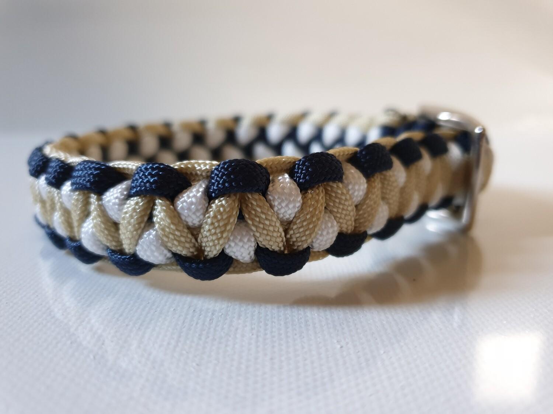 Drakon Small Navy/Beige/White Dog Collar