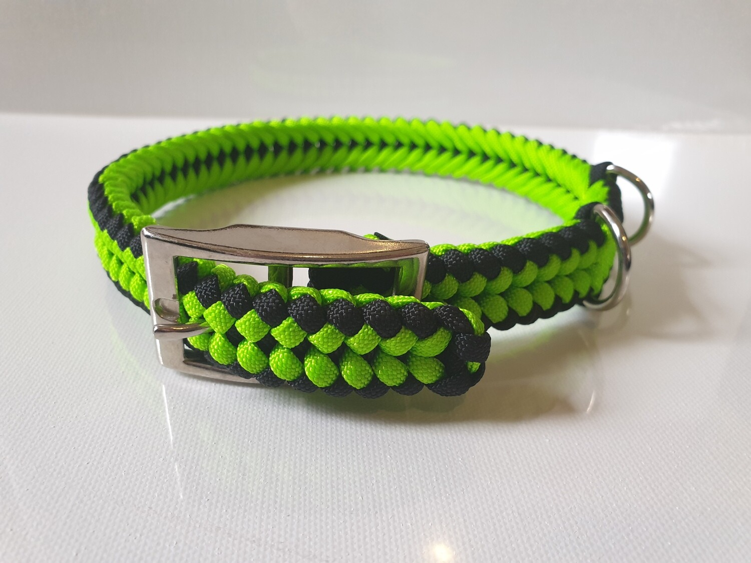 Sanctified Small Lime Green/Black Dog Collar