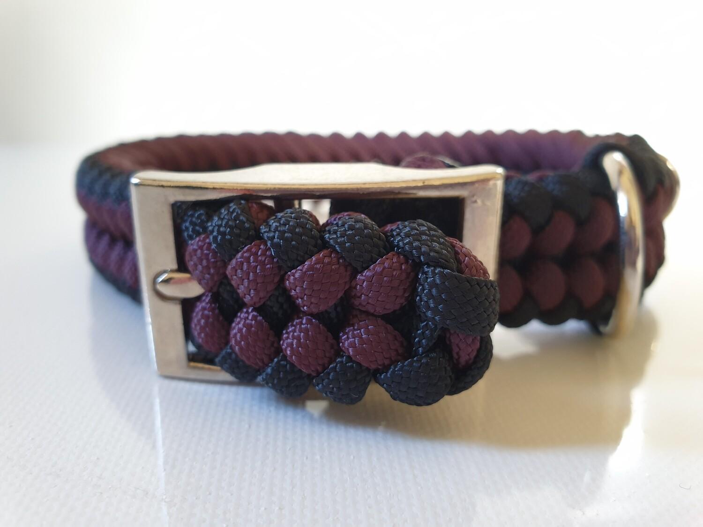 Sanctified Small Burgundy/Black Dog Collar