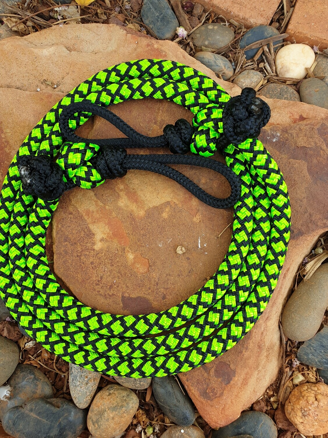 6ft Lime Green/Black Diamonds Joined Rope Reins