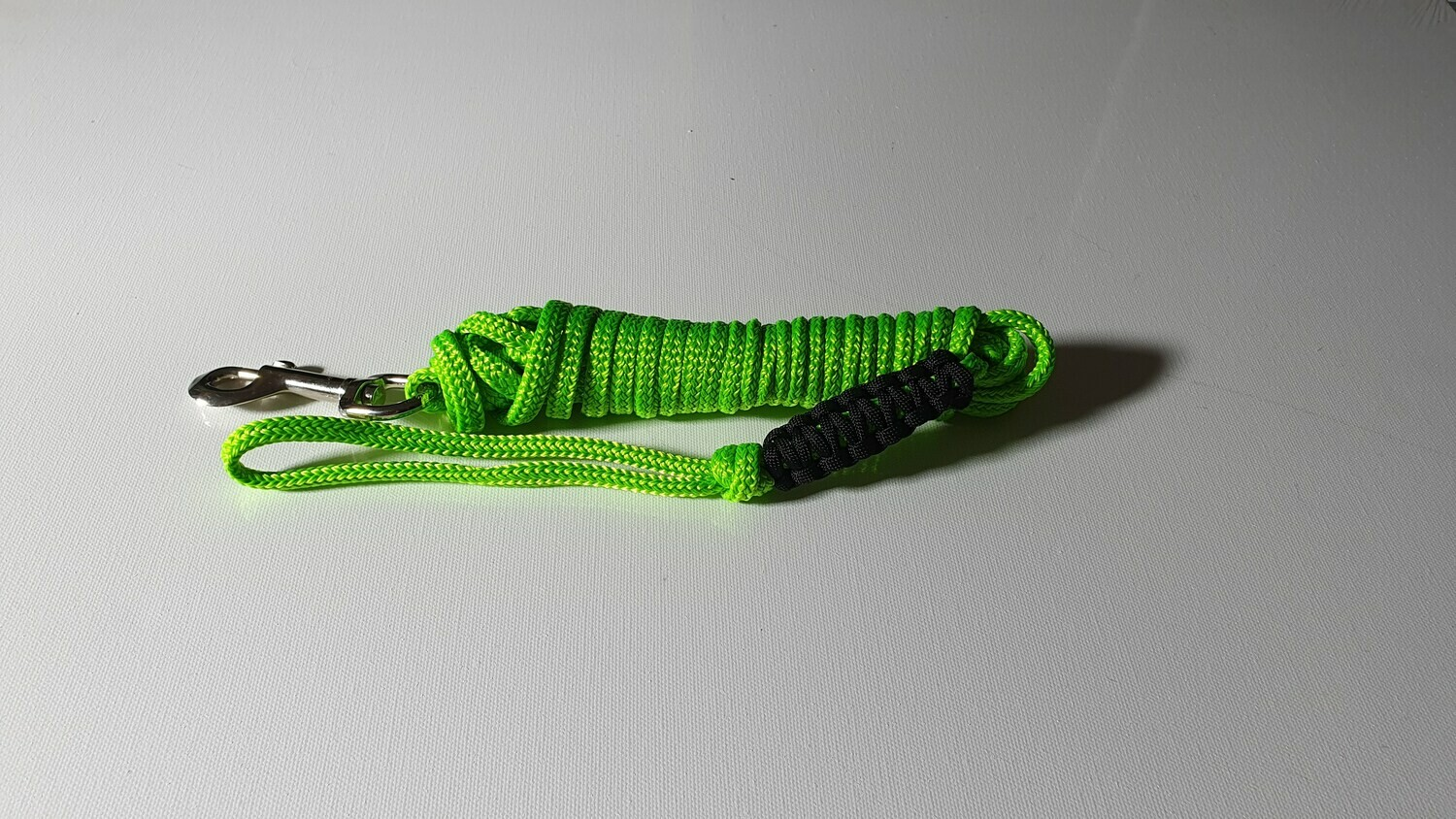4m Lime Green/Black Rope Dog Lead