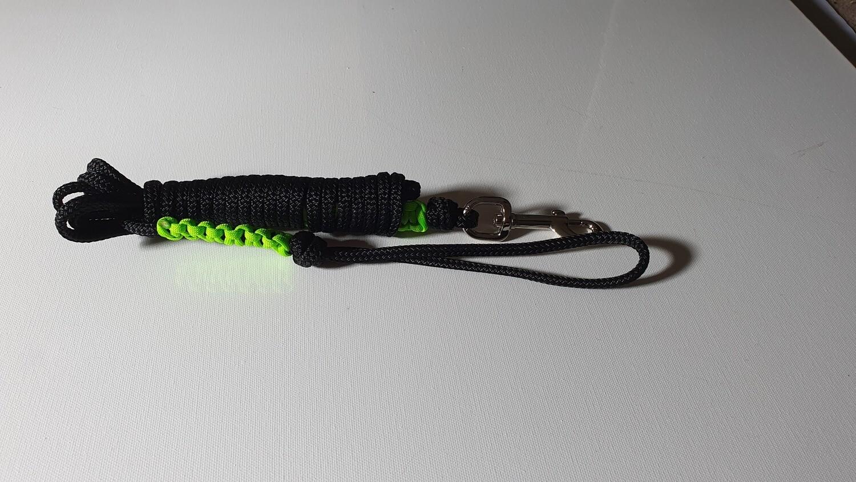 4m Black/Lime Green Rope Dog Lead