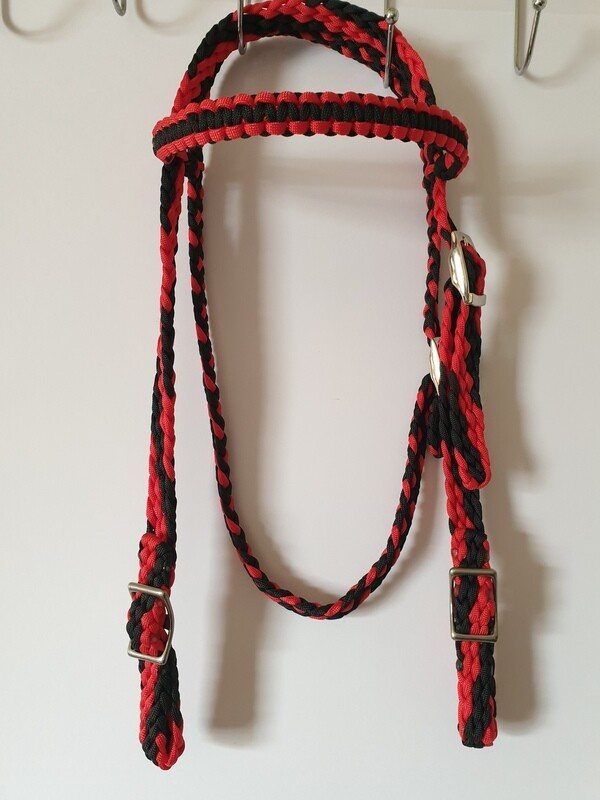 Black/Red Braided Bridle