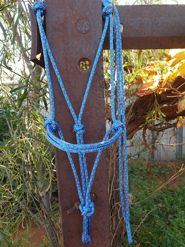 Aqua/Purple Diamonds Rope Halter