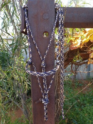 Beige/Burgundy/Navy Rope Halter