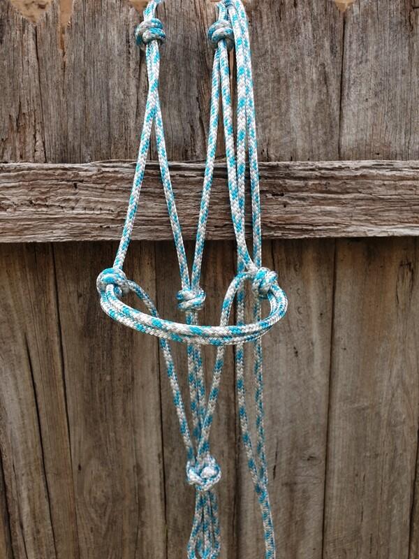 Aqua/Silver/White Rope Halter