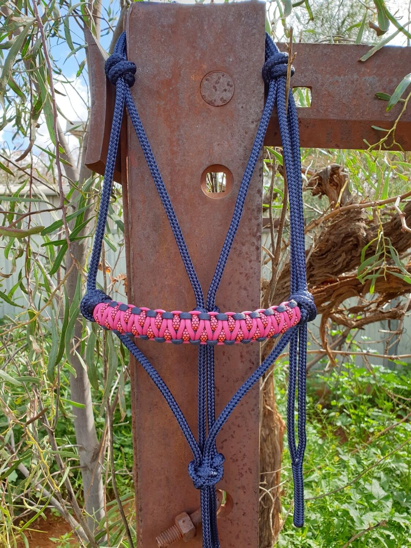 Drakon Navy/Fuschia/Pink Diamonds Rope Halter
