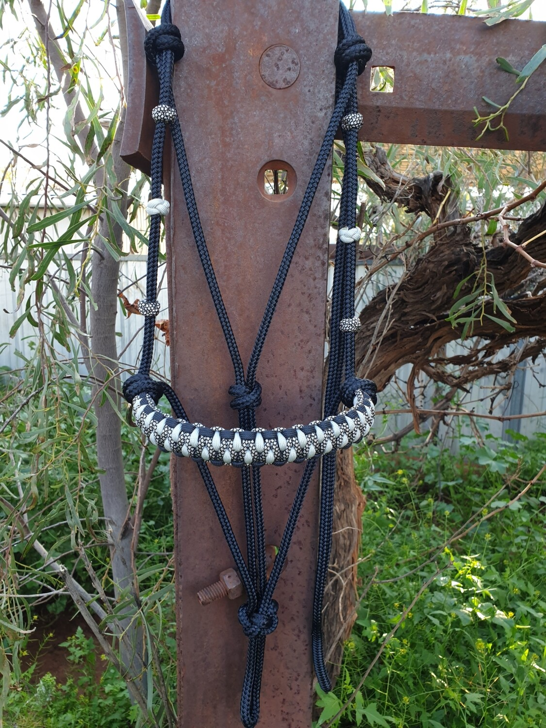 2 in 1 Midnight Black/Silver and Silver Diamonds Bitless Bridle & Halter